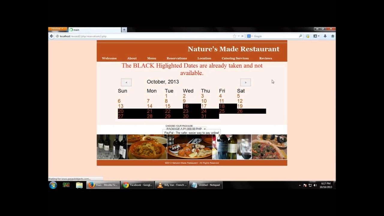 online restaurant reservation system documentation