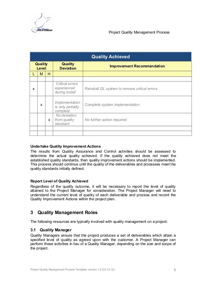 quality management system documentation template