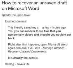 way to recover unsaved word document