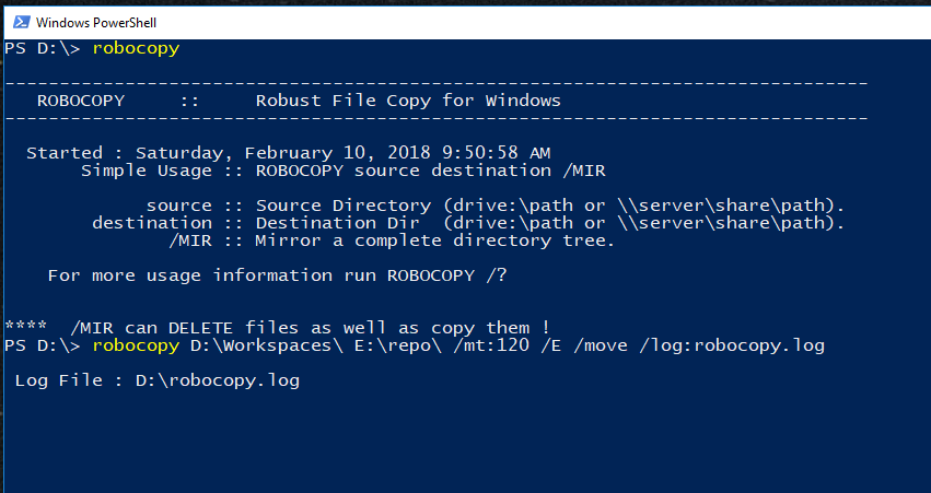 windows 10 robocopy documentation