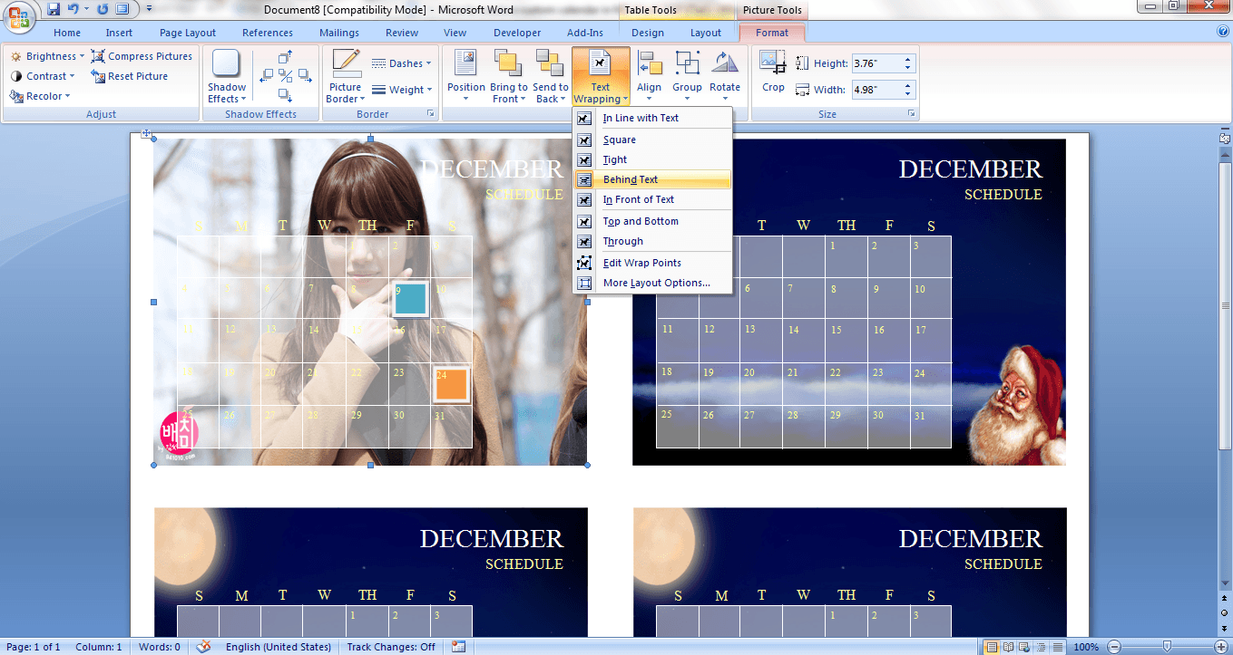 have an image as the background of a word document