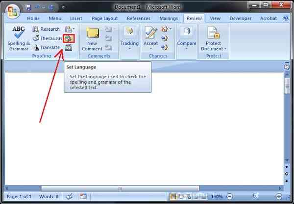 how to change the language in a word document