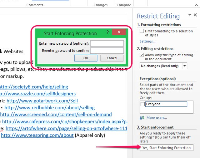 how to password protect a word document 2013