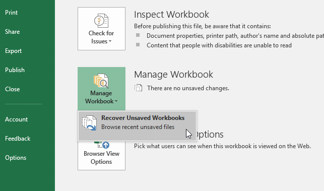 how to recover unsaved excel document 2016