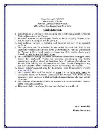 tender document for interior works
