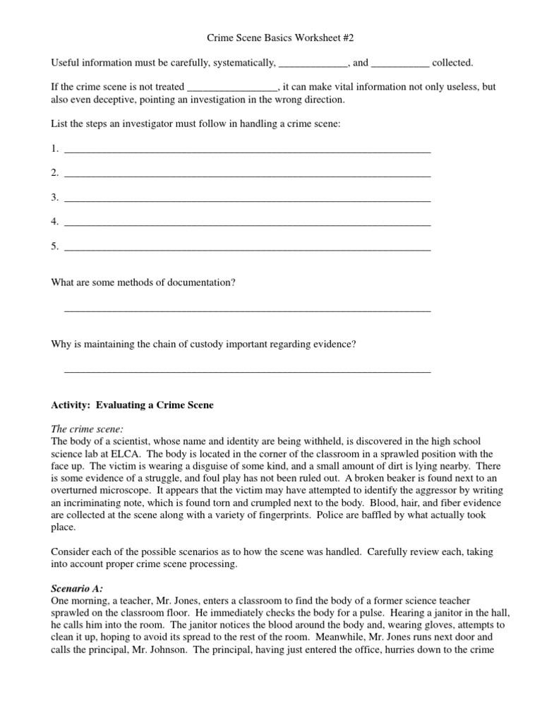crime scene documentation worksheet