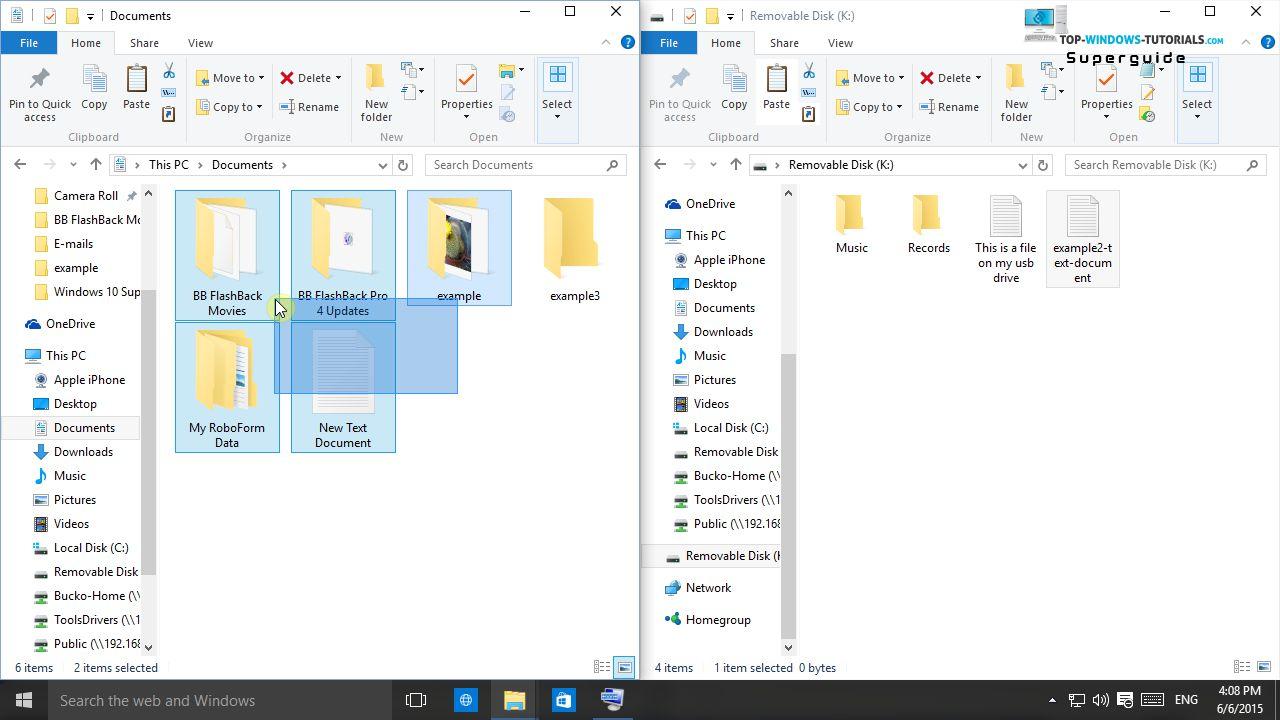 move document folder windows 10