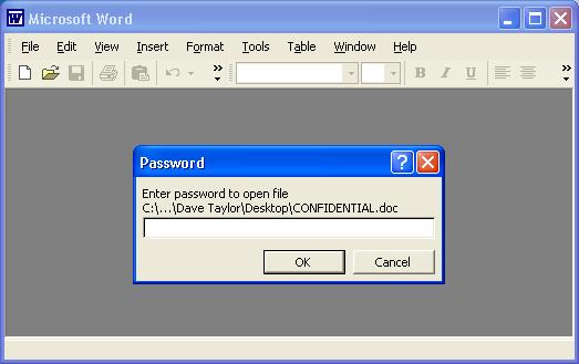 please enter a document open password