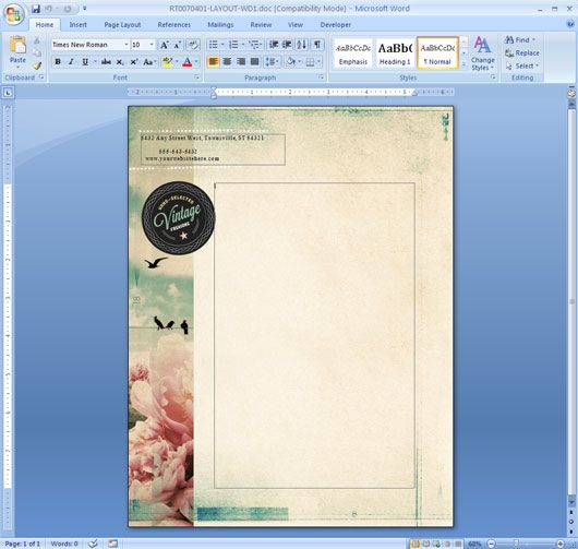size to make background of word document iamge