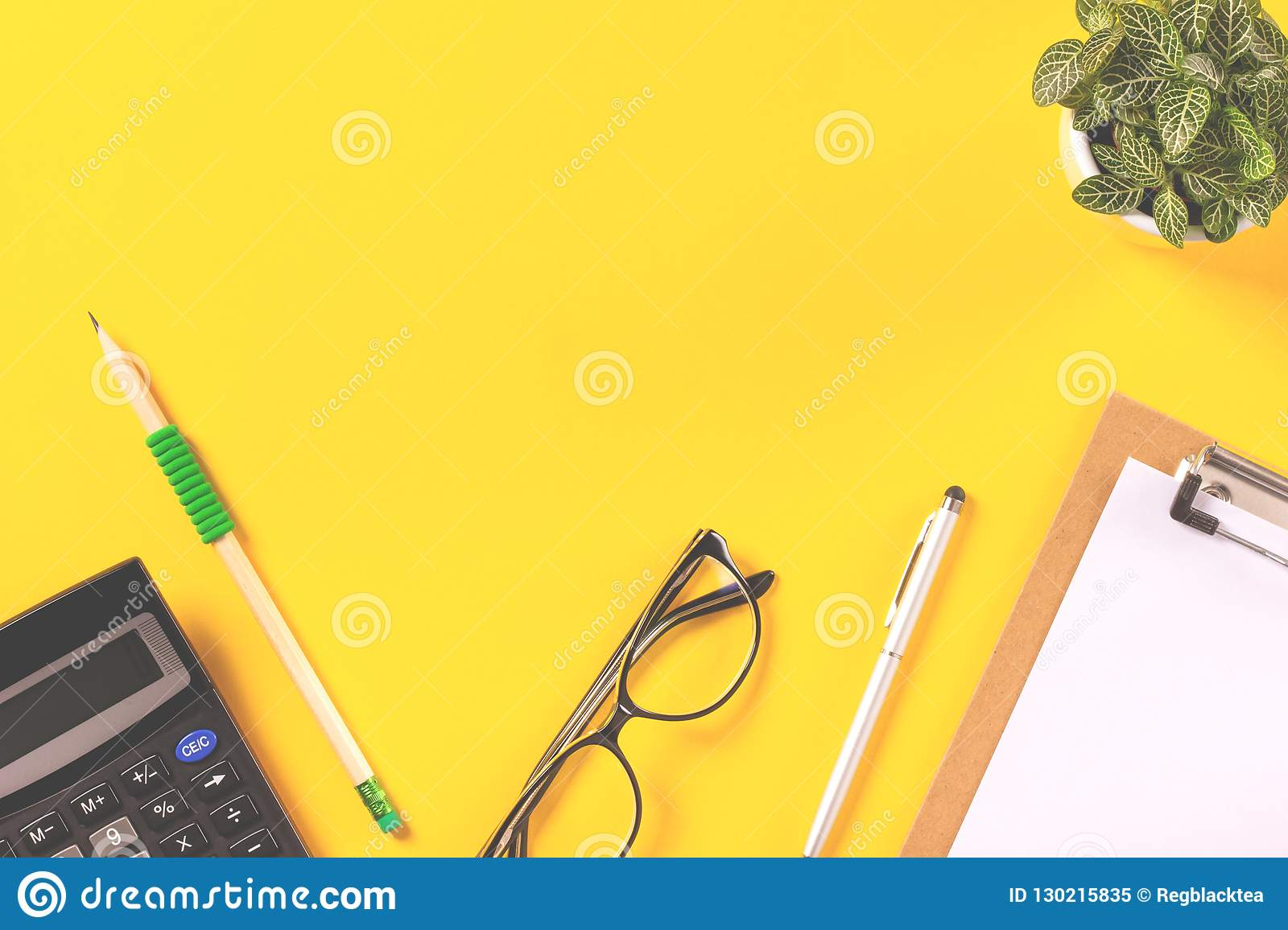 calculator and payroll document stock image