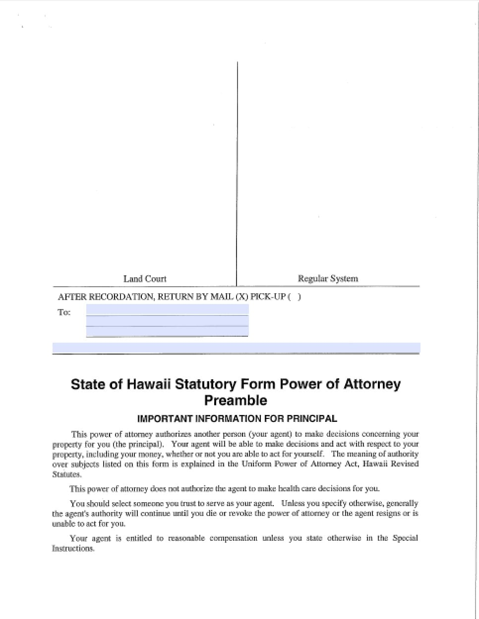 enduring power of attorney document