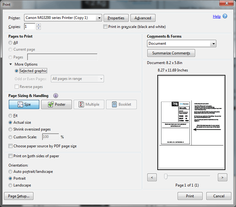 pdf document not printing landscape