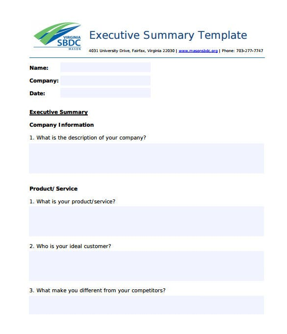 examples of summary document properties