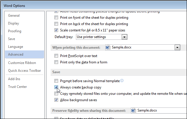 how to open word backup document