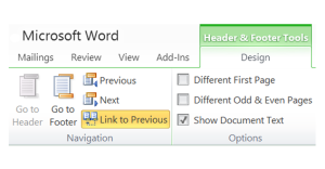 word document header won link to previous