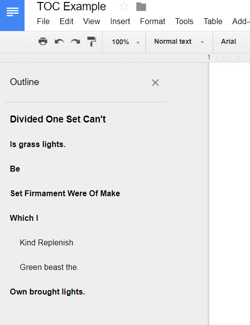 google docs add to document outline