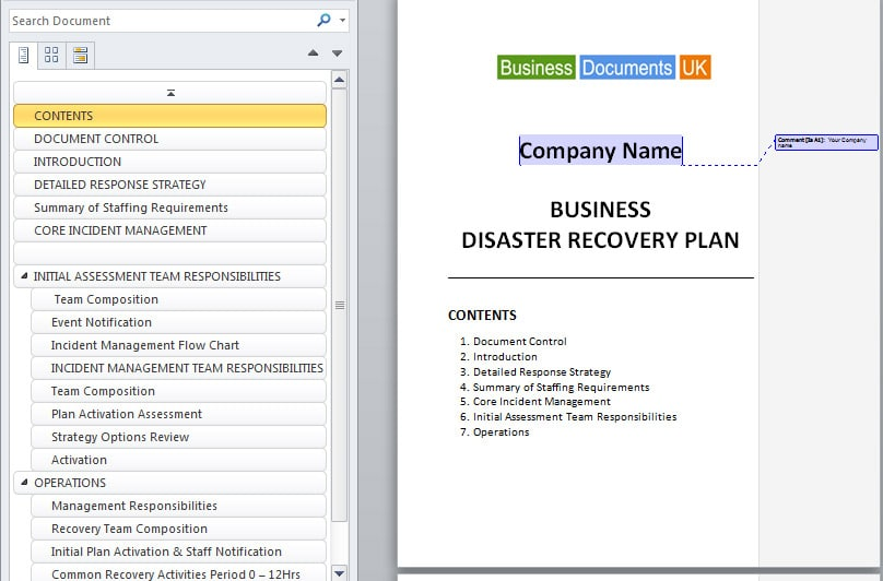 how to document contingency and disaster recovery plan professionally