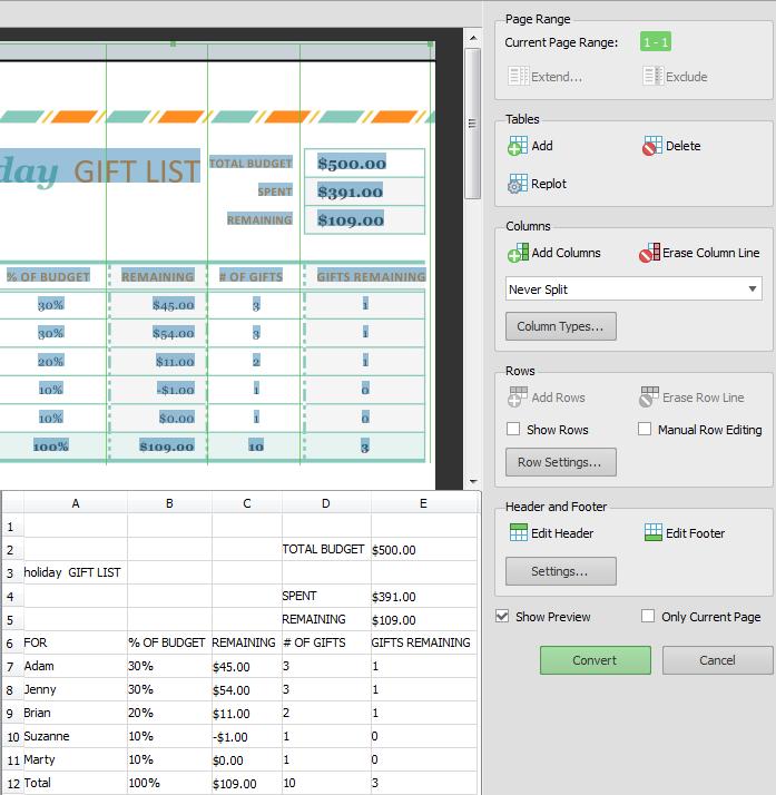 online document converter pdf to excel
