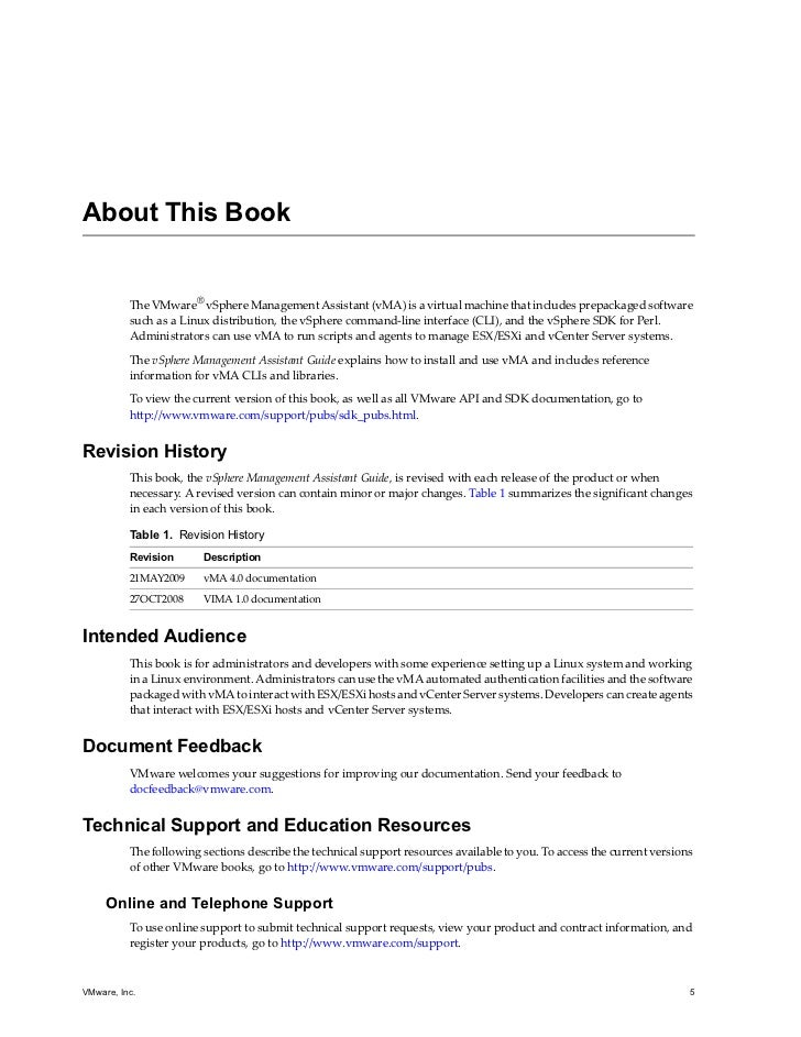 vsphere management assistant documentation